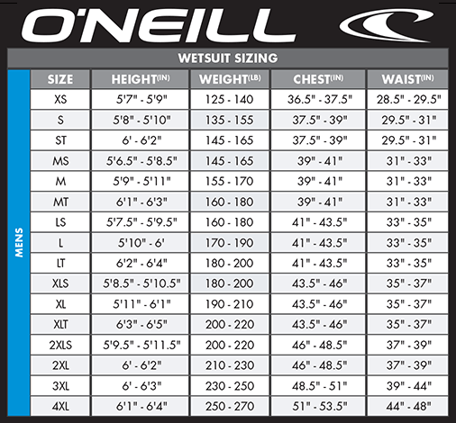 O'neill Youth Size Chart